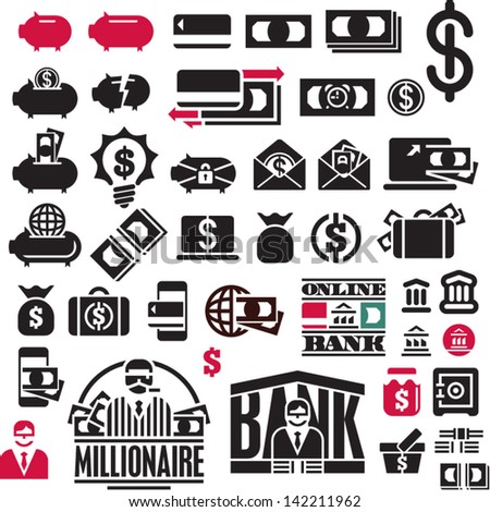 Money icons set. Finance Icons collection. Banking icons. - stock vector