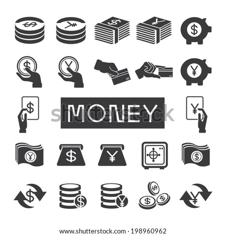 money icons set, financial icons set - stock vector