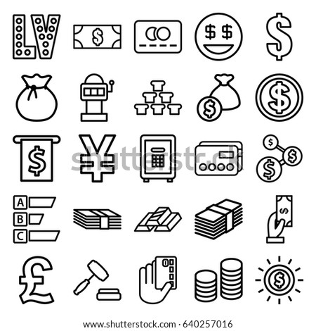 Money icons set. set of 25 money outline icons such as credit card, payment, vegas, dollar, safe, auction, coin, dollar smiley, sack, gold bar, credit card in hand, pound