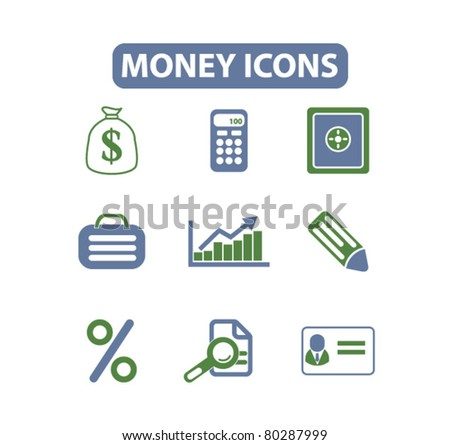 money icons, signs, vector - stock vector