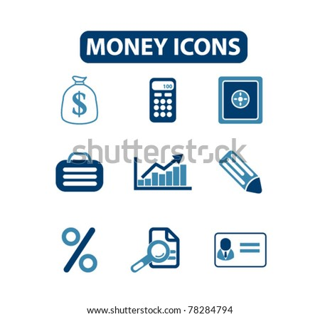 money icons, signs, vector illustrations - stock vector