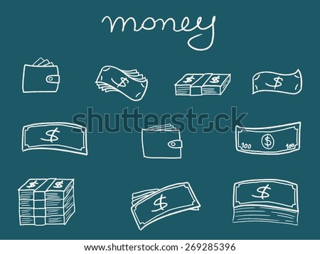Money icons - sketchy doodle style illustration with banknotes and wallets. Business set. - stock vector