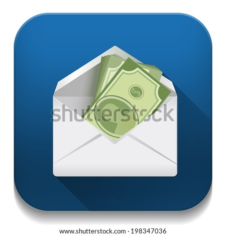 money in an envelope, Dollar version With long shadow over app button - stock vector