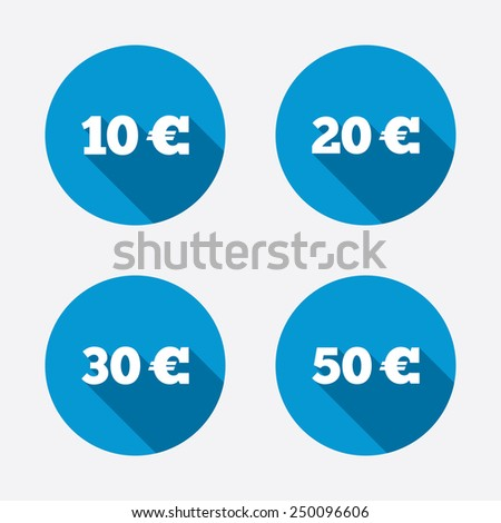 Money in Euro icons. 10, 20, 30 and 50 EUR symbols. Money signs Circle concept web buttons. Vector - stock vector