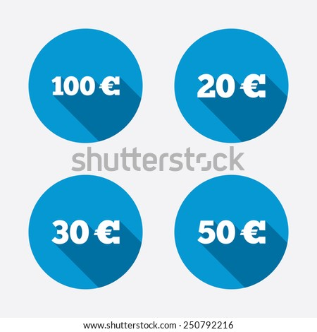 Money in Euro icons. 100, 20, 30 and 50 EUR symbols. Money signs Circle concept web buttons. Vector - stock vector