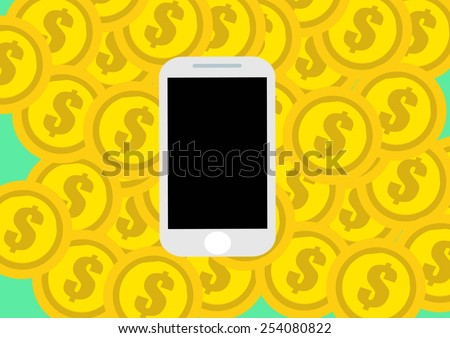 Money in form of gold coins in mobile phone. - stock vector