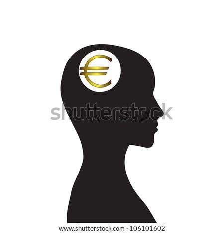 Money in my head, vector image, euro - stock vector