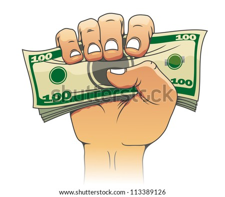 Money in people hand for investment concept design. Jpeg version also available in gallery - stock vector