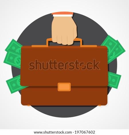 Money in suitcase flat icon - stock vector