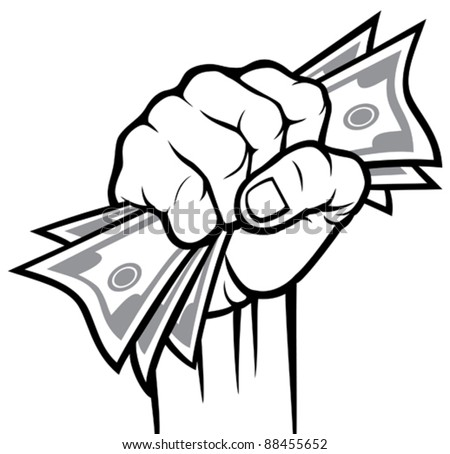 Money in the hand (Hand with money, Hand holding Banknotes) - stock vector