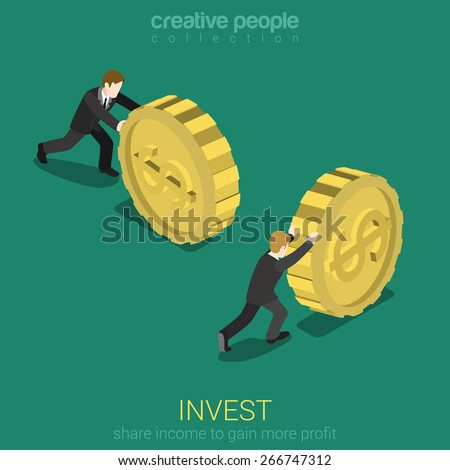 Money invest flat 3d web isometric infographic concept vector. Businessman rolling gold dollar coin. Monetary finance conceptual. Creative people collection. - stock vector