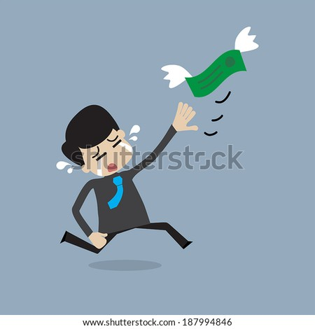 Money is flying away from businessman - stock vector