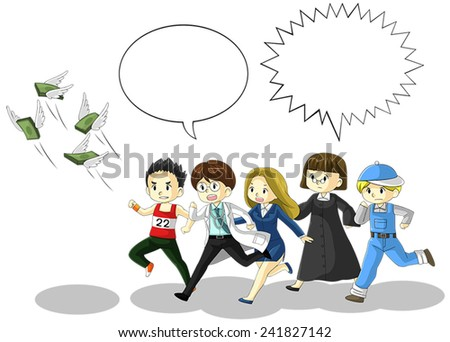 Money is flying away from people of various jobs and professions with speech bubble. It is because of inflation, economic recession, or business loss? - stock vector
