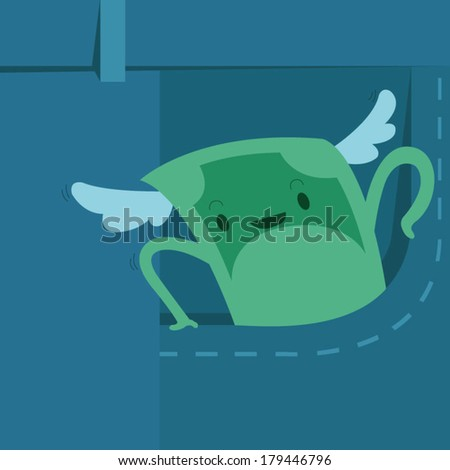 money is winging from pocket - stock vector