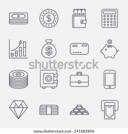 money line icons on white background - stock vector