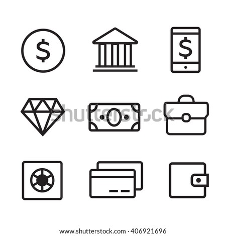Money line vector icons set. Money finance, credit card bank, commerce currency coin, cash money - stock vector