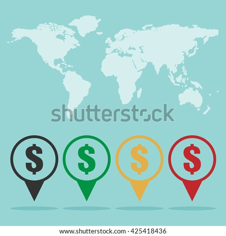 Money location sign icon with world map. icon for money status in the world. Flat design business financial marketing banking advertisement web concept cartoon illustration. - stock vector