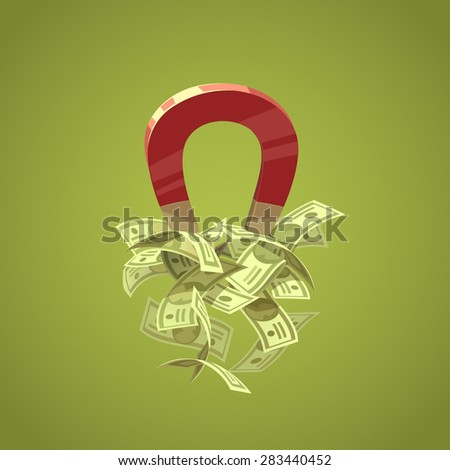 Money magnet. Isolated object \ background. - stock vector