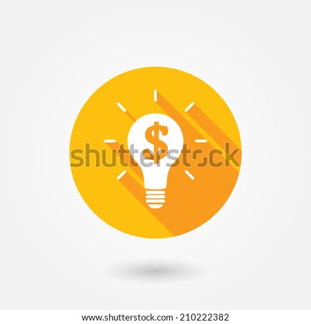 Money Making Ideas. Flat icon design with long shadow - stock vector