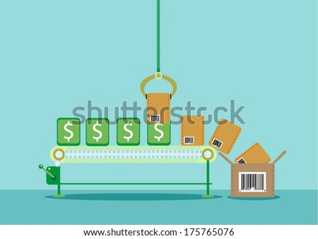 Money on Assembly Line converted into Products  - stock vector
