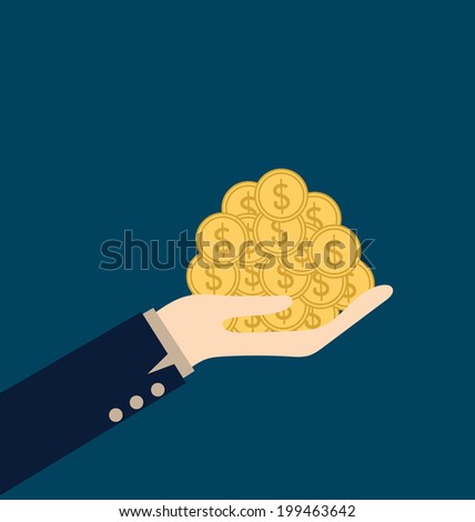 Money on hand. Modern Flat design vector illustration concept. - stock vector