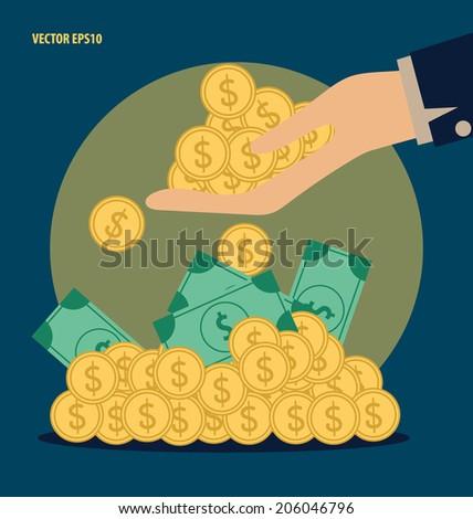 Money on hand. Modern Flat design vector illustration concept. - stock vector
