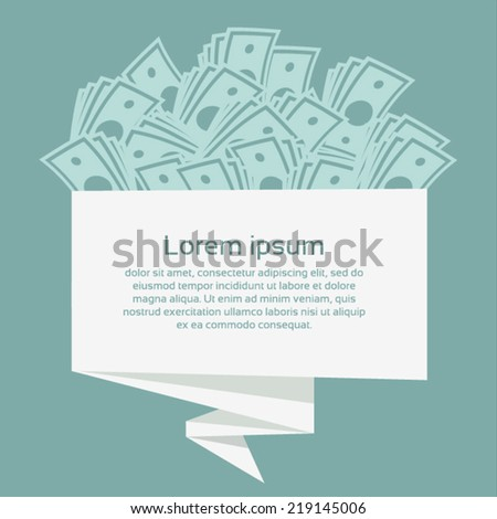 Money on origami banner. Business concept. Vector Illustration. - stock vector