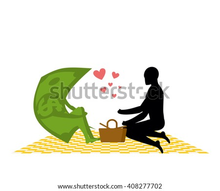Money on picnic. Rendezvous in Park. Dollar and people. Country lovers jaunt into cash. Meal in nature. Plaid and basket for food on lawn. Man and currency. Romantic financial illustration - stock vector