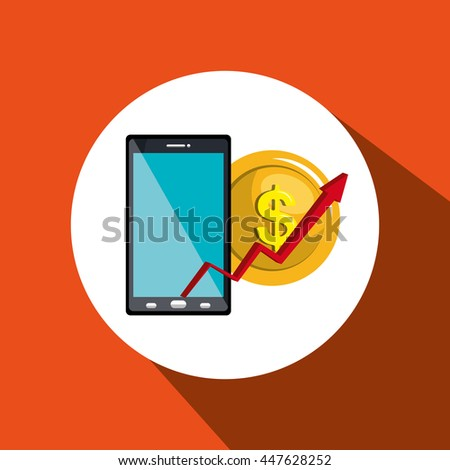 money online from smartphone isolated icon design, vector illustration  graphic