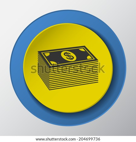 money paper icon with shadow. Vector illustrations.