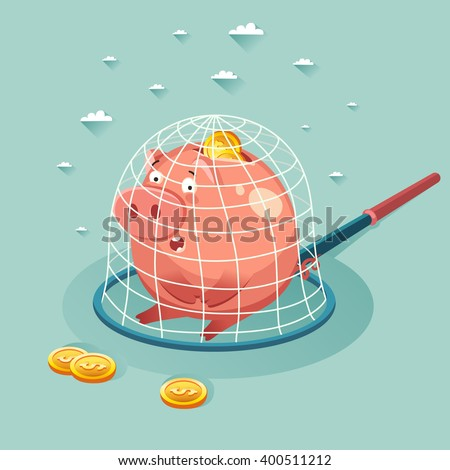 Money piggy bank in a trap. Saving money concept. Vector colorful illustration in flat style - stock vector