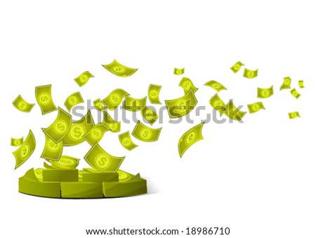 Money pile being blown - stock vector
