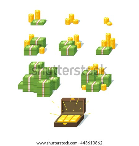 Money piles set. Collection of stacked pile of green dollars cash, gold coins and gold bars in suitcase. Flat style vector illustration. - stock vector