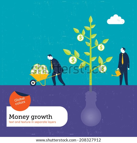 Money Plant grows with ideas. Vector illustration Eps10 file. Global colors. Text and Texture in separate layers. - stock vector
