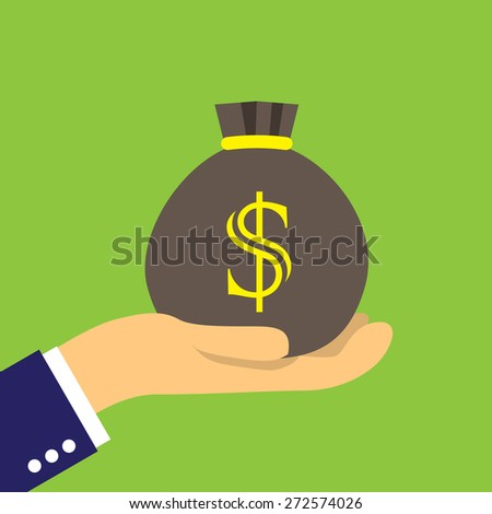 Money sack on the palm - stock vector