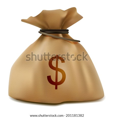 Money sack realistic icon with sign of dollar