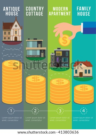Money saving planning infographics template. Real estate concept. - stock vector