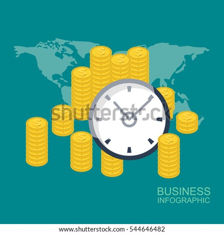 Money saving. Times is money. Business and management. vector
