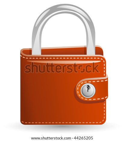Money security concept. Locked Wallet. Illustration of a wallet closed on the lock. - stock vector