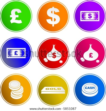money sign icons - stock vector