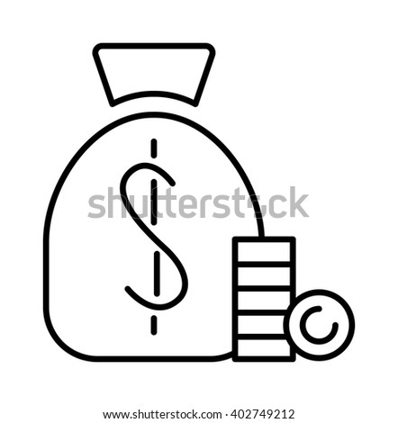 Money sign line icon and money finance sign. Banking money sign investment financial wealth money treasure economy coin. Money bag sign icon currency business symbol flat design vector. - stock vector