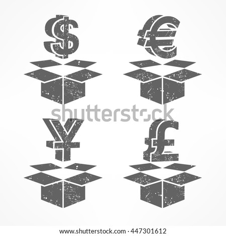 Money signs in open boxes grey vector illustration - stock vector