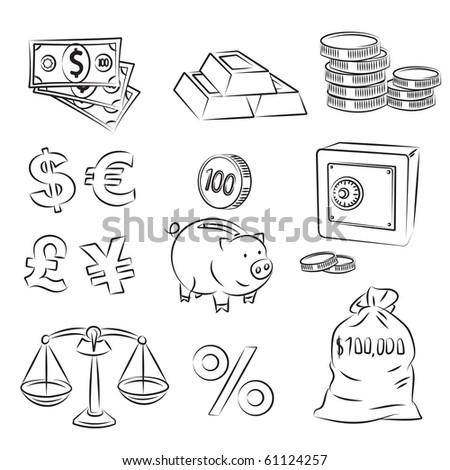 Money Sketch Set - stock vector