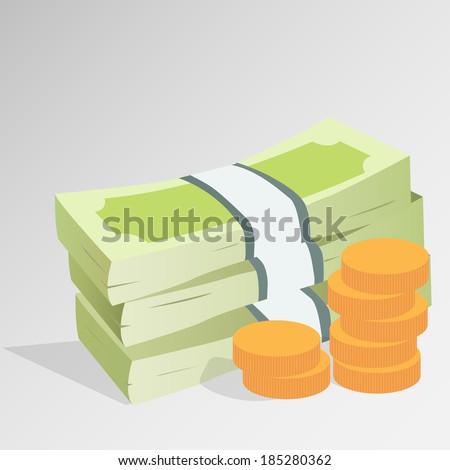 Money stack - stock vector