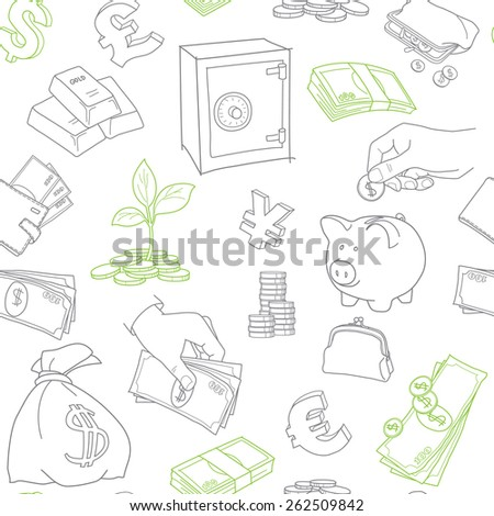 Money symbols doodle sketch vector seamless pattern - stock vector