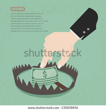 Money trap with hundred dollars, eps10 vector format - stock vector
