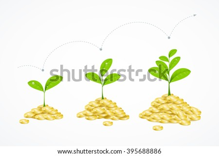 Money Tree Concept. Earnings Growth and Profit. Vector illustration - stock vector