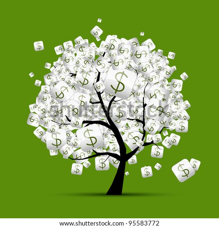 Money tree concept with dollar signs for your design - stock vector