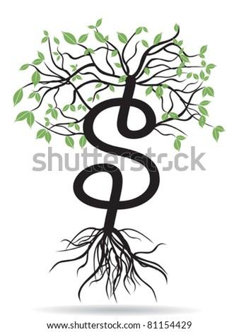 money tree-growing dollars - stock vector