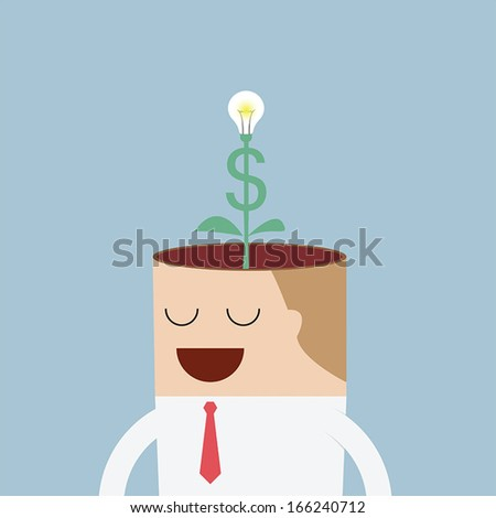 Money tree growing from businessman head, VECTOR, EPS10 - stock vector